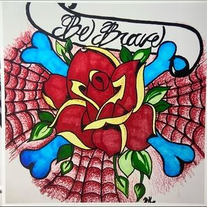 Be Brave Rose Spider Web Art Print